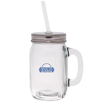15 Oz. Mason Jar w/Lid & Straw