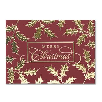 Gold Berry Christmas Holiday Greeting Card